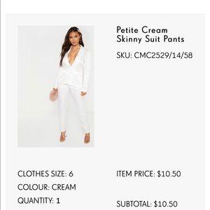 cream silk dress pants skinny ! never worn size 6